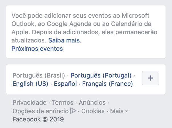 Print do bloco de exportação de eventos do Facebook, em julho de 2019.