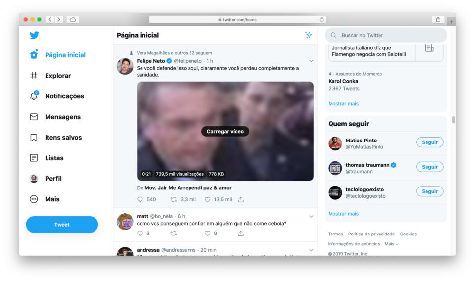 Print do Twitter mostrando um tweet do Felipe Neto.