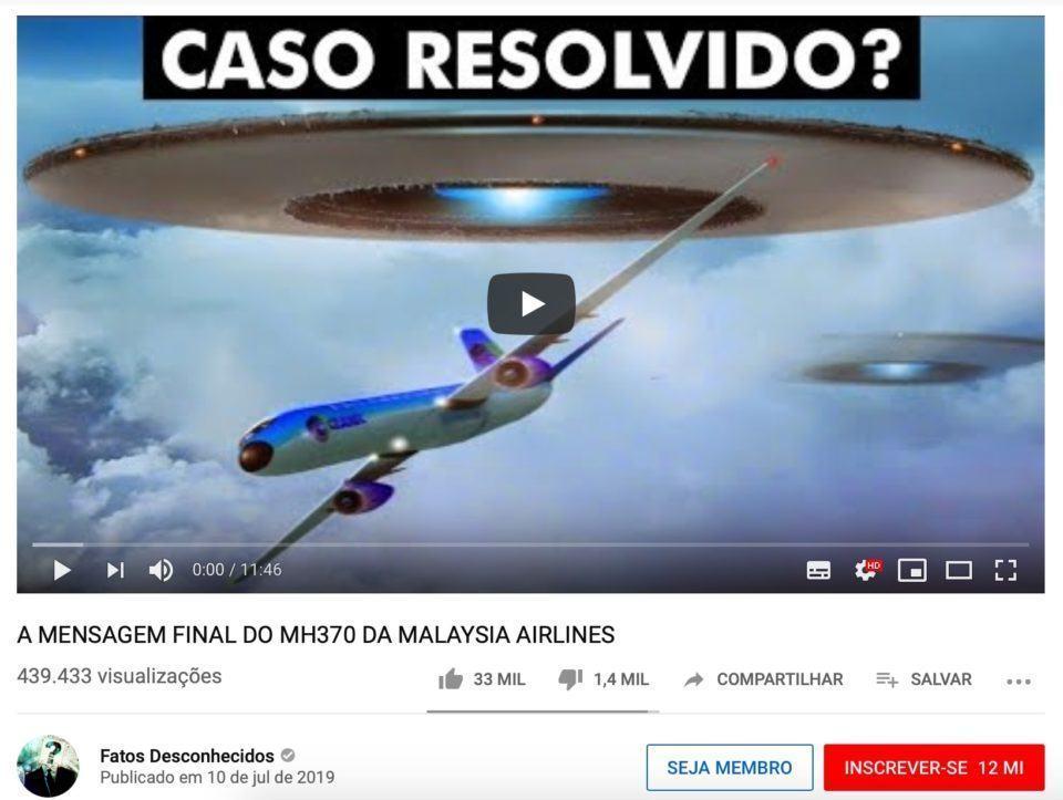 Miniatura de vídeo do canal Fatos Desconhecidos sugerindo que disco voador teria relação com sumiço de avião comercial.