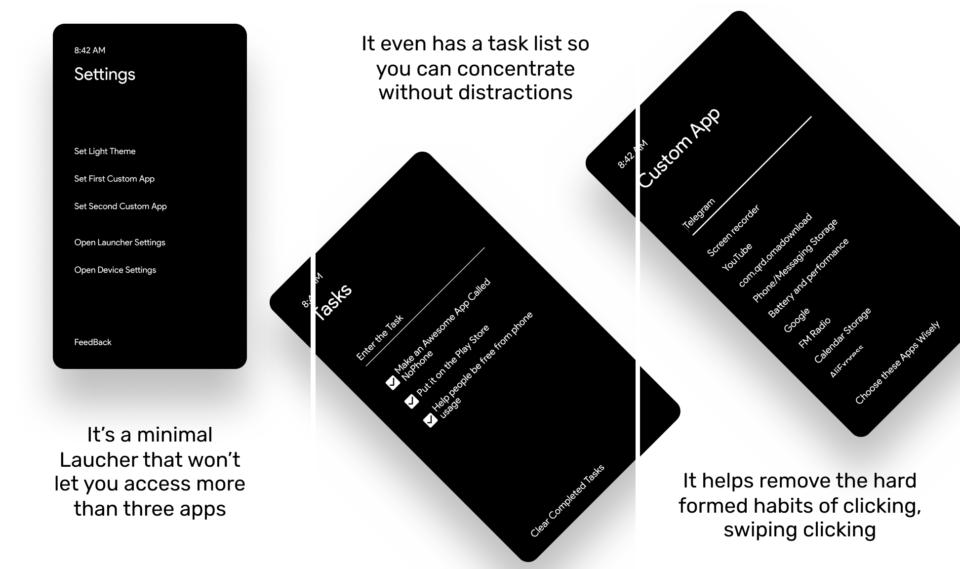 Imagens de divulgação mostrando a interface do LessPhone.