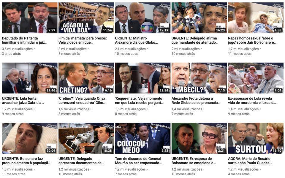Print dos vídeos mais populares do canal Folha Política.