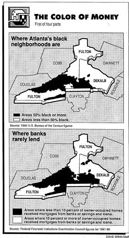 Mapas dos bairros negros em Atlanta e de onde os bancos mais negavam empréstimos.