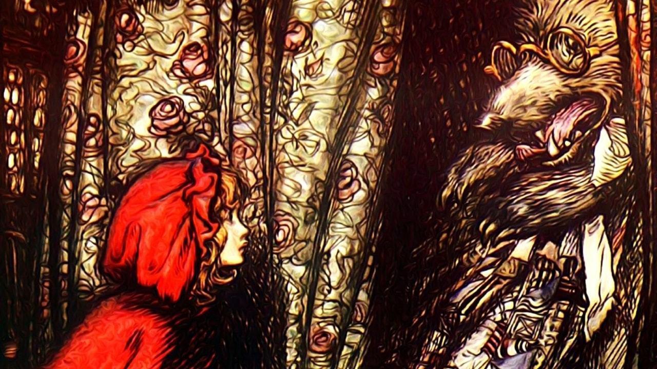 Ilustração vintage de Chapeuzinho Vermelho e o Lobo Mau disfarçado de Vovozinha.