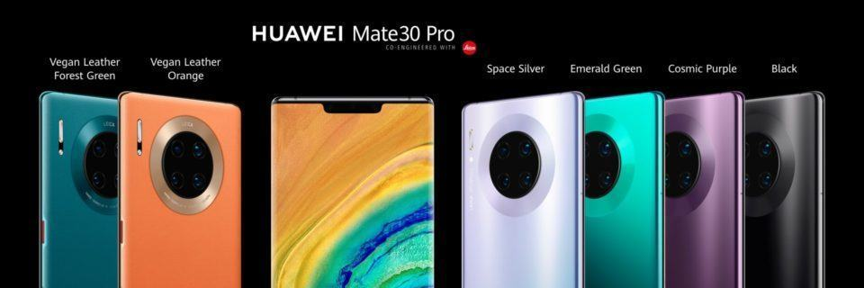 Foto frontal do Mate 30 Pro e suas seis cores.