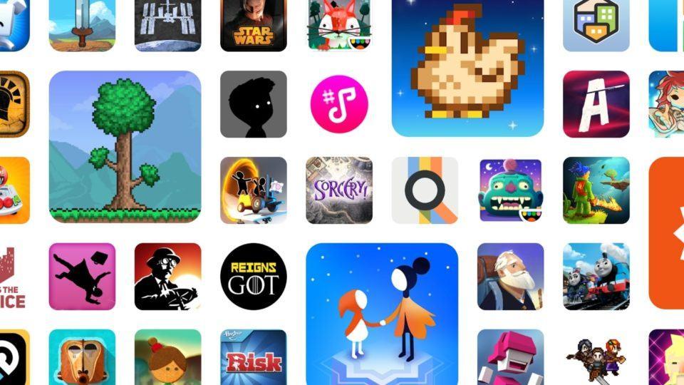 Muitos ícones de alguns jogos e apps do Google Play Pass dispostos em uma imagem.