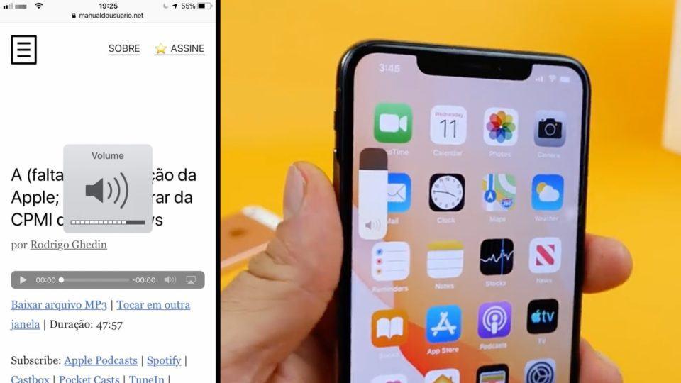 Comparativo do controle de volume pré-iOS 13 e no iOS 13.