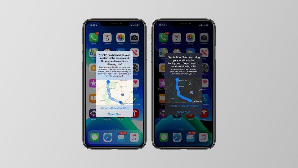 Prints do iOS 13 dedurando apps que monitoram a localização do usuário em segundo plano.