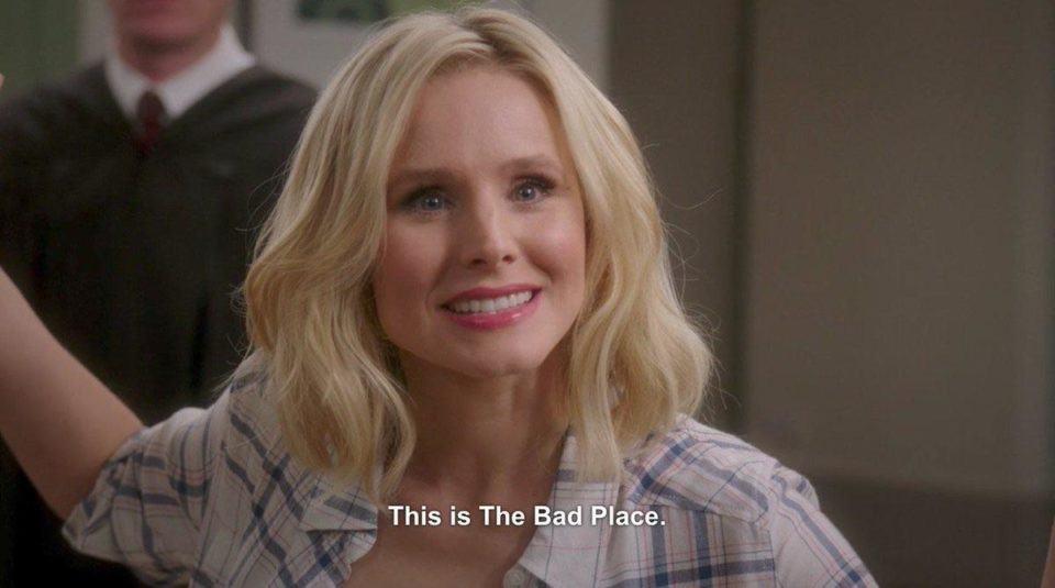Kristen Bell dizendo que este é o lugar ruim, como no meme.