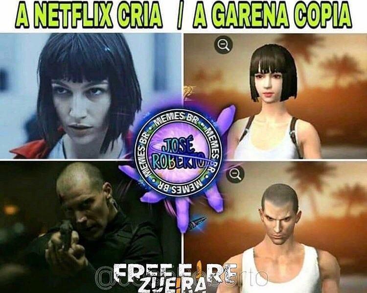 Comparação entre atores de produções da Netflix e personagens genéricos de Free Fire.