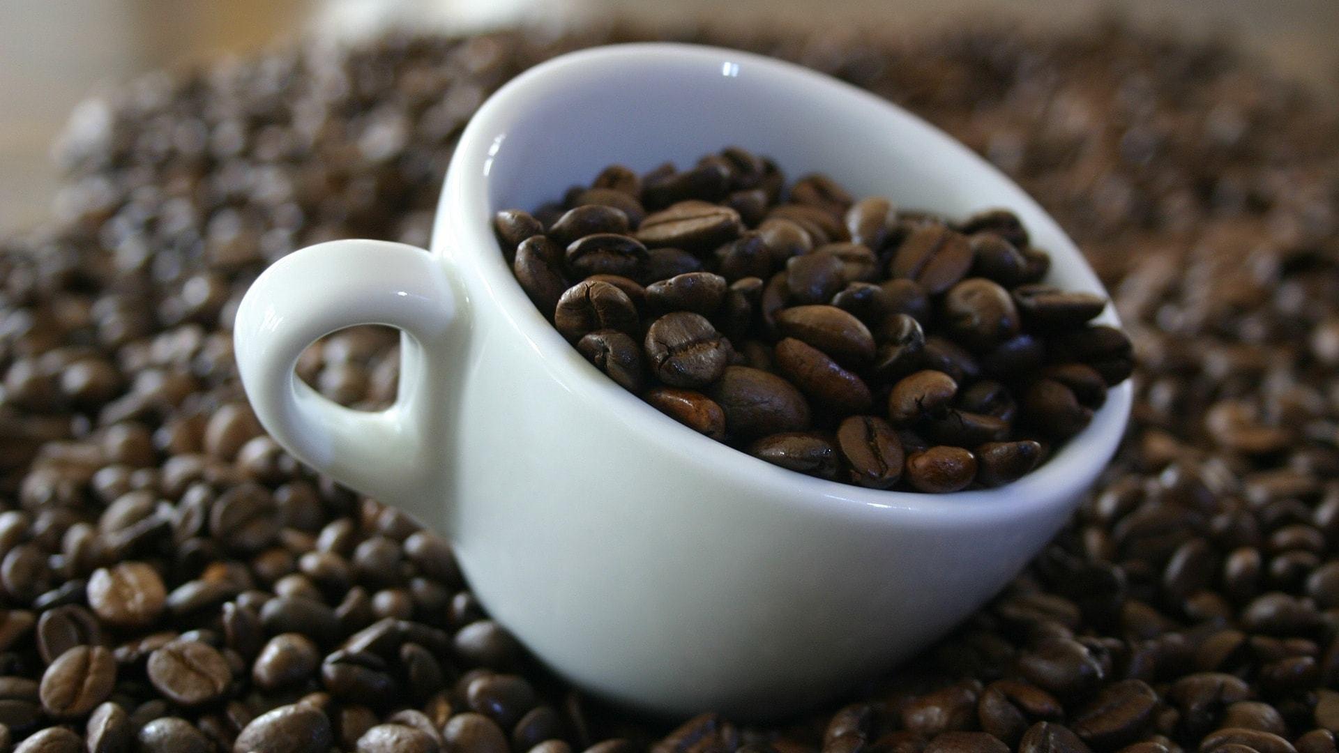 Xícara com grãos de café sobre mais grãos de café.