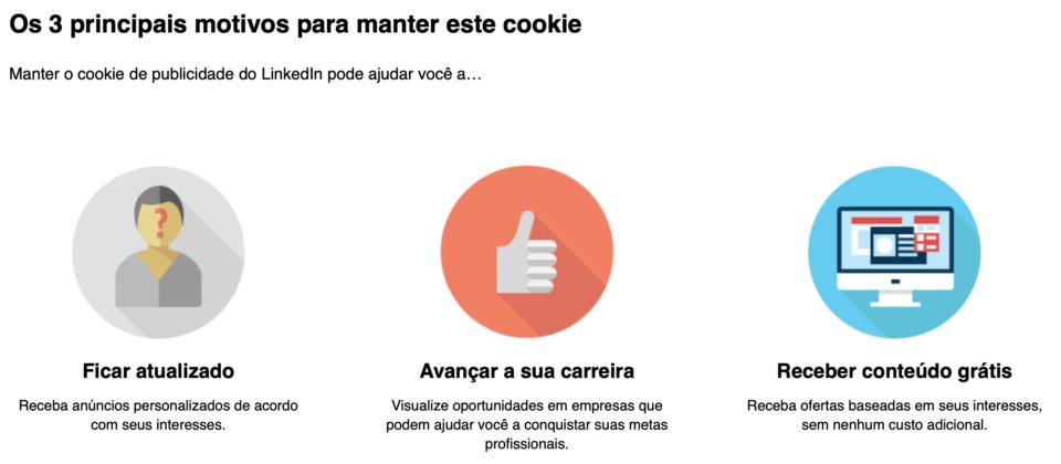 Supostas vantagens do cookie de personalização de anúncios do LinkedIn.