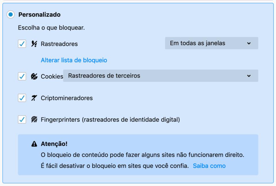 Configurações recomendadas de privacidade no Firefox.