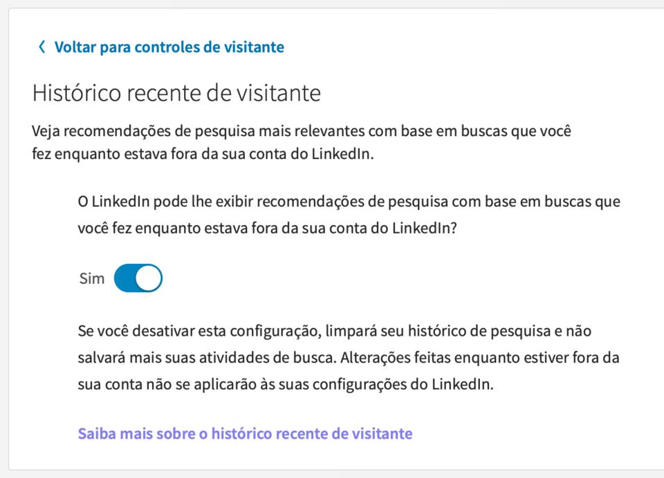 Opção do LinkedIn para rastreamento de usuários não logados.