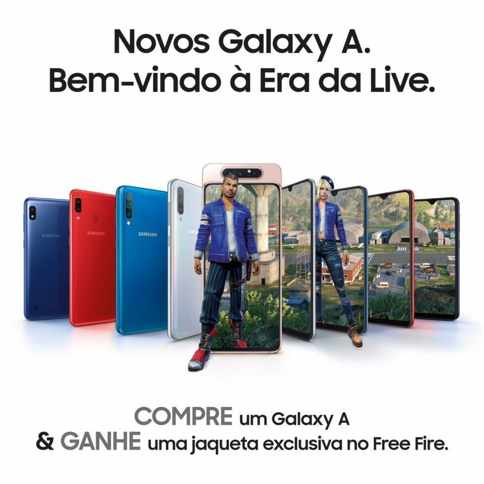 Anúncio da Samsung prometendo uma jaqueta dentro do Free Fire para quem comprar um celular da linha Galaxy A.