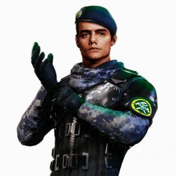 Desenho do personagem Miguel, inspirado no Capitão Nascimento, do jogo Free Fire.