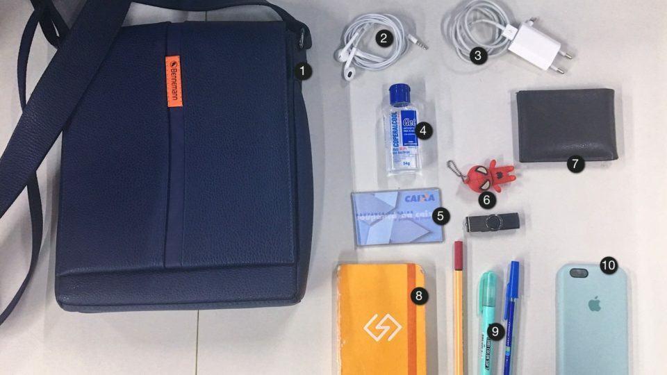 Itens da mochila do Tiago Gonçalves.