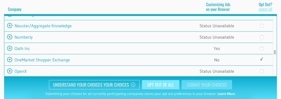 Lista de empresas que oferece opt-out pelo AdChoices.