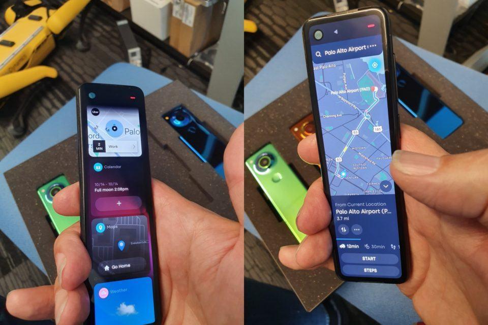 Duas fotos do Gem, celular comprido da Essential, mostrando a interface.