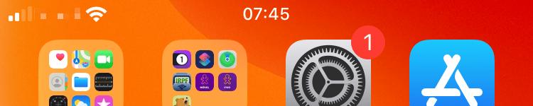 Topo da tela inicial do iPhone sem o mostrador de bateria.