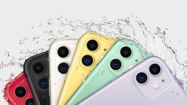 iPhone 11 em várias cores, molhados, com destaque para a câmera dupla nas costas.