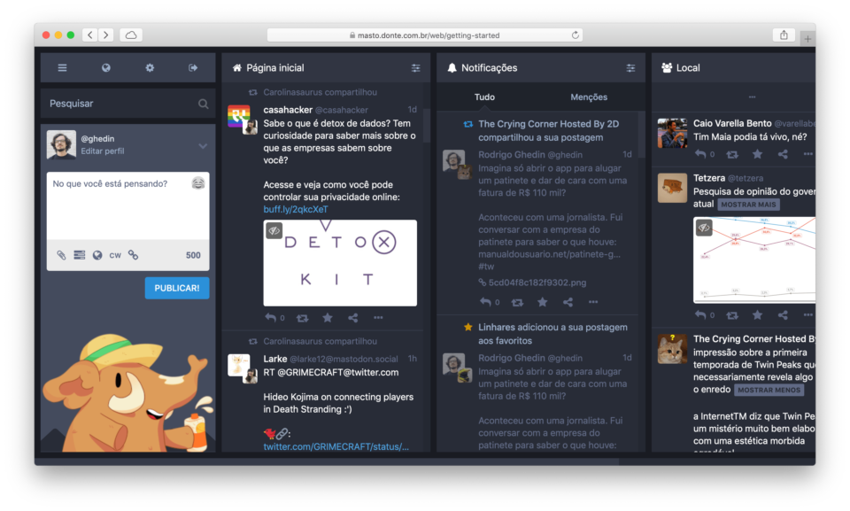 Interface do Mastodon no navegador Safari.