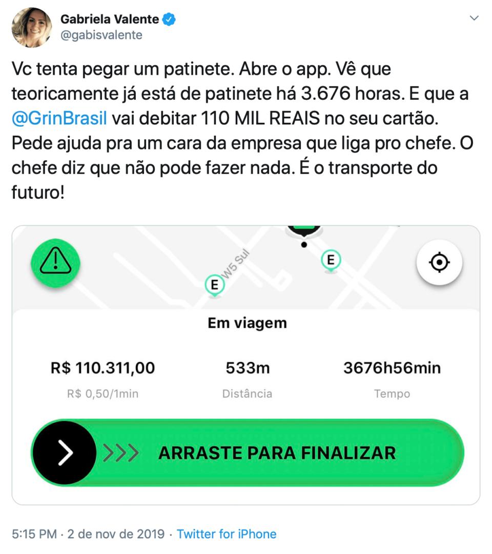 Tweet da Gabriela que viralizou, com reclamação e print do app da Grin.