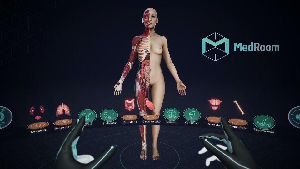 Simulação do aplicativo de realidade virtual da MedRoom, com as mãos do usuário em primeiro plano e um corpo humano feminino à frente com metade dele mostrando órgãos internos.
