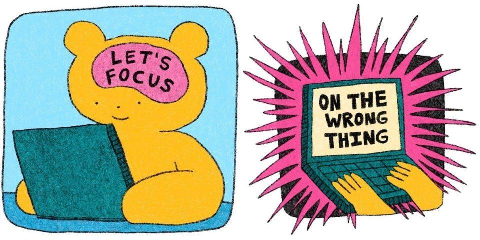Tirinha de um urso mexendo no computador.