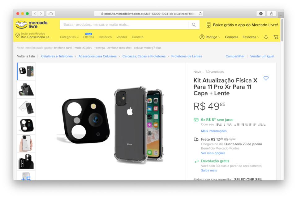 Print do anúncio do kit de atualização física para iPhone no Mercado Livre.