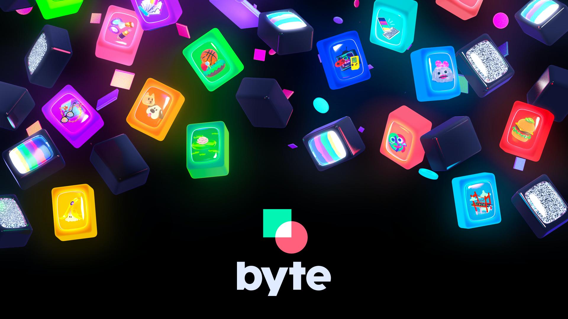 Diversas pecinhas coloridas representando vídeos espalhadas pela tela contra um fundo escuro e o logo do Byte abaixo.
