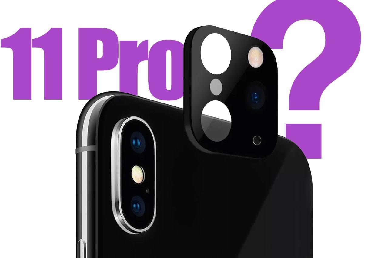 """iPhone XS de costas com o adesivo que o """"transforma"""" em 11 Pro próximo e a frase """"11 Pro?"""" atrás."""