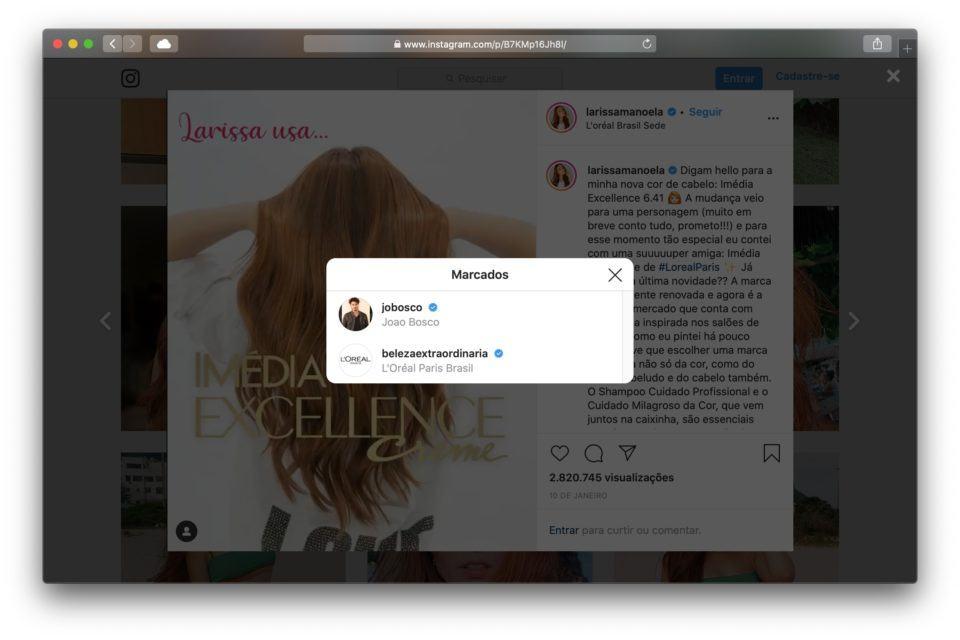 Print do Instagram da Larissa Manoela de um post patrocinado pela L'Oreal.