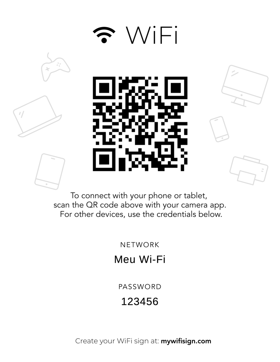 Cartaz com QR Code gerado pelo My Wi-Fi Sign.