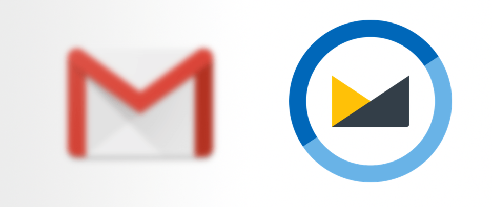 Ícone do Gmail borrado à esquerda; ícone do Fastmail destacado à direita.