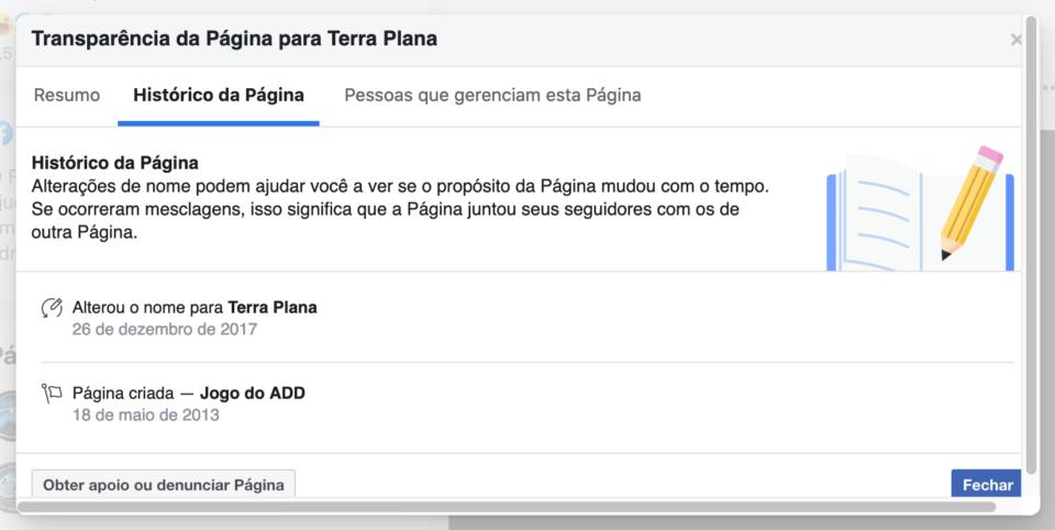 """Print do histórico de nomes de uma página que foi criada com o nome """"Jogo do ADD"""" e virou """"Terra Plana""""."""