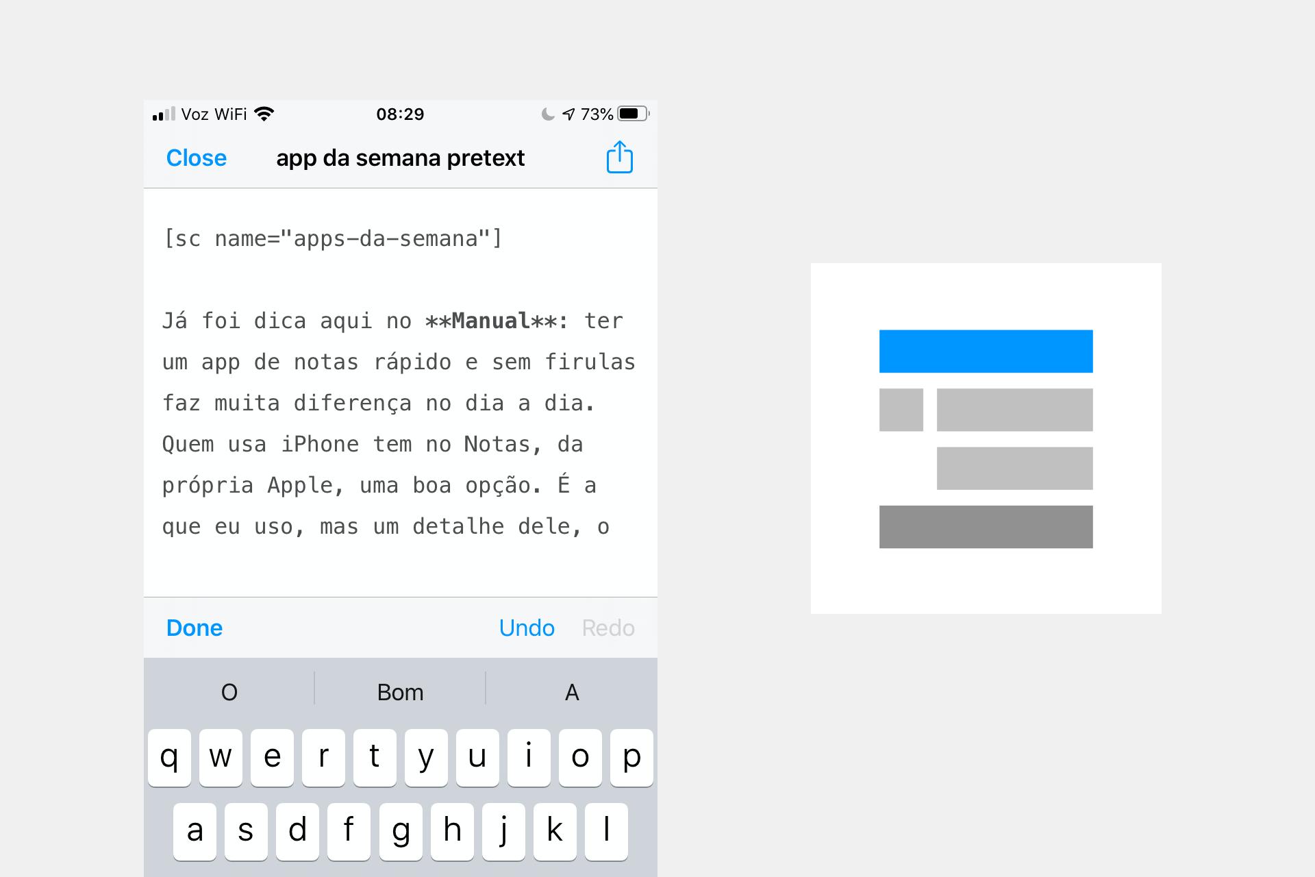 Print do Pretext no iPhone com o início deste post escrito em Markdown e, ao lado, ícone padrão do app.