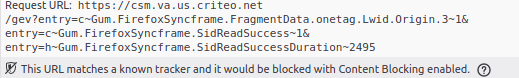 Aviso do Firefox dizendo que bloquearia elementos se as configurações fossem as padrões.