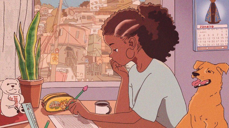 Desenho de uma menina estudando em um cenário tipicamente brasileiro.