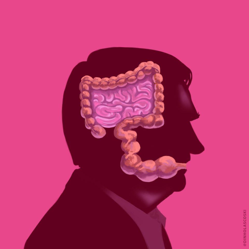 Ilustração da silhueta de Jair Bolsonaro de perfil, com um intestino no lugar do cérebro.