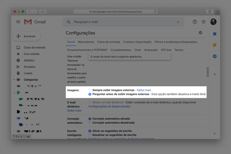 Print da tela de configurações do Gmail destacando a opção para não carregar imagens remotas.