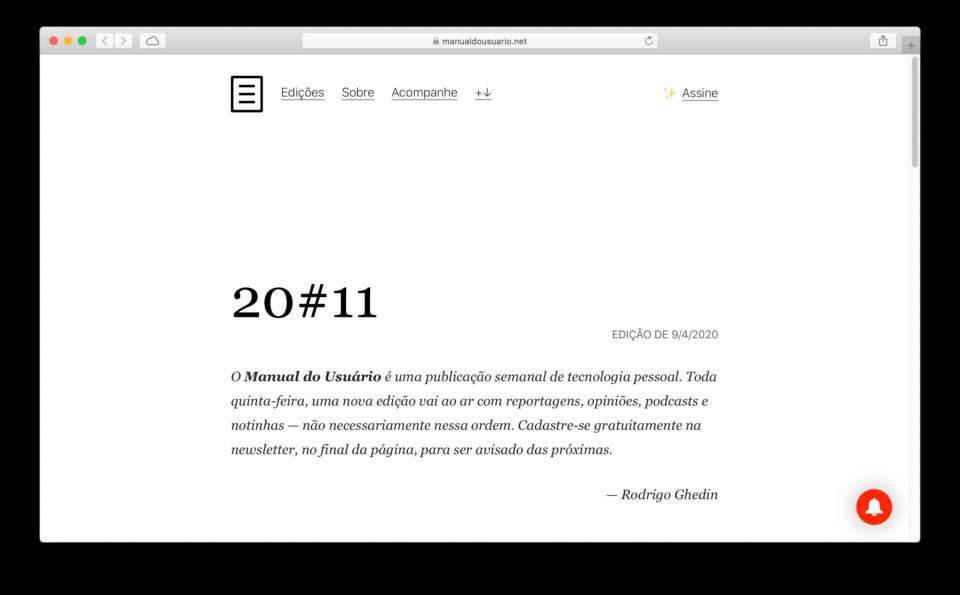 Print do Safari com a edição 20#11 do Manual do Usuário aberta.