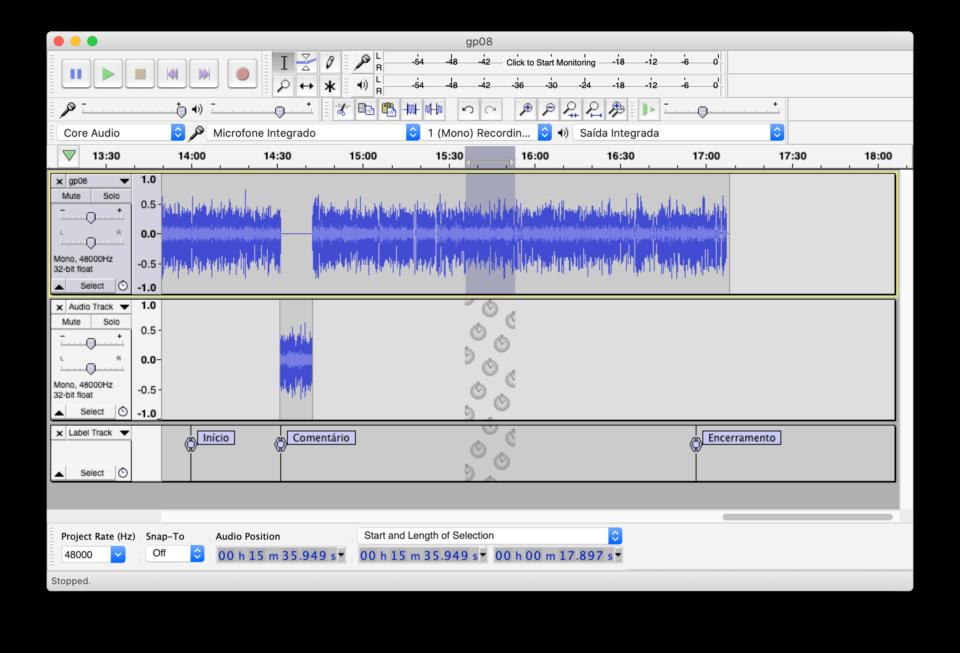 Print do Audacity no macOS com um projeto de podcast aberto.