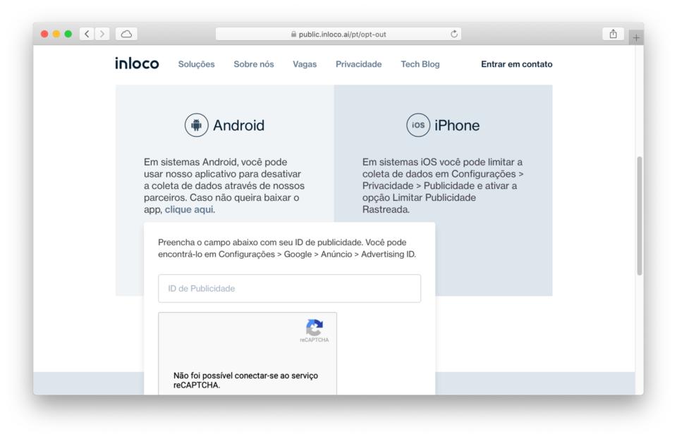Print da página de opt-out da In Loco mostrando como desativar o rastreamento no Android.
