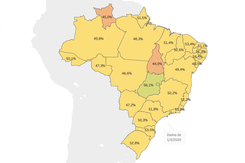 Mapa do Brasil com a porcentagem da população em distanciamento social segundo dados da In Loco.