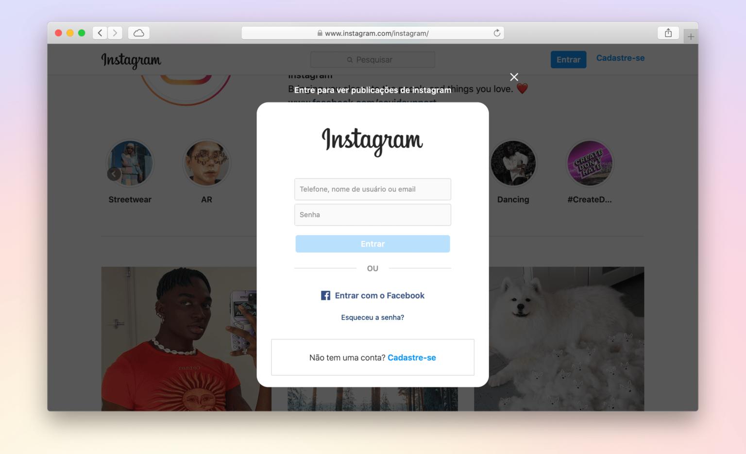Print do Instagram aberto no Safari para macOS pedindo login para exibir uma foto.