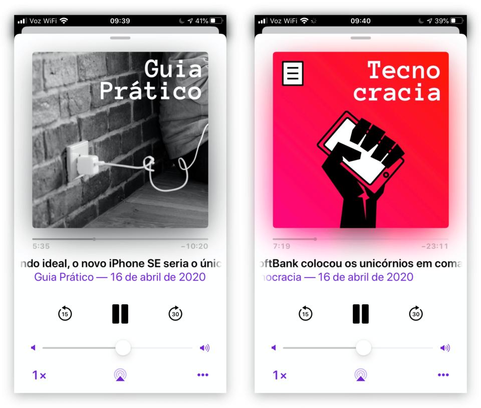 Prints do aplicativo de podcasts da Apple mostrando Guia Prático e Tecnocracia em execução.