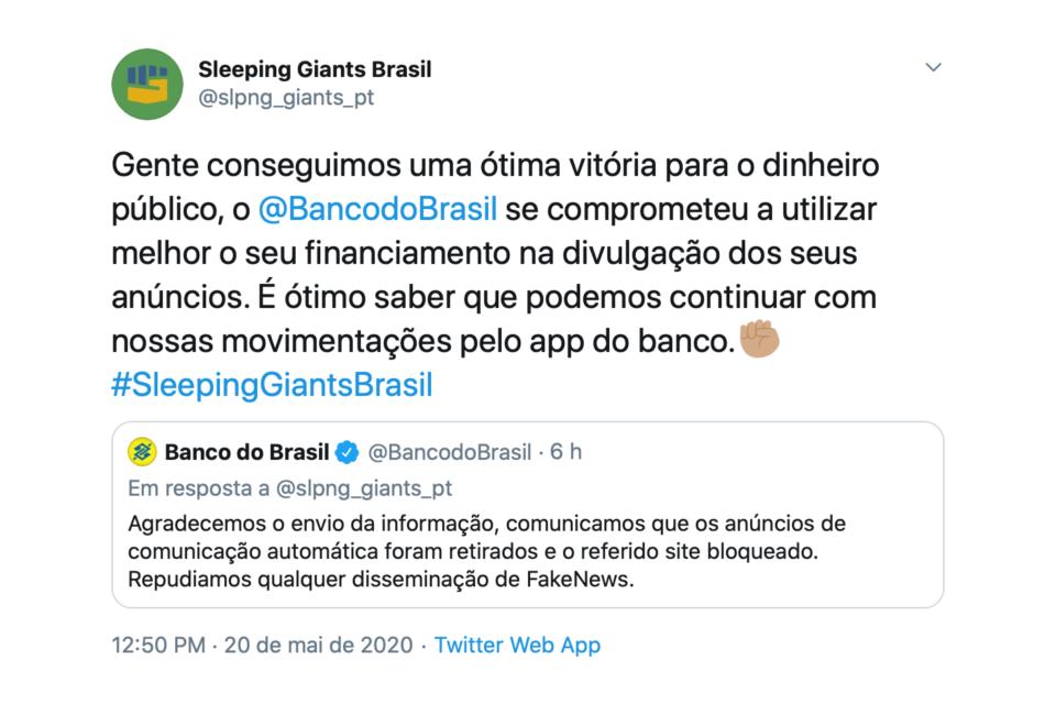 Tuíte do Banco do Brasil informando que retirou seus anúncios do site Jornal da Cidade Online.