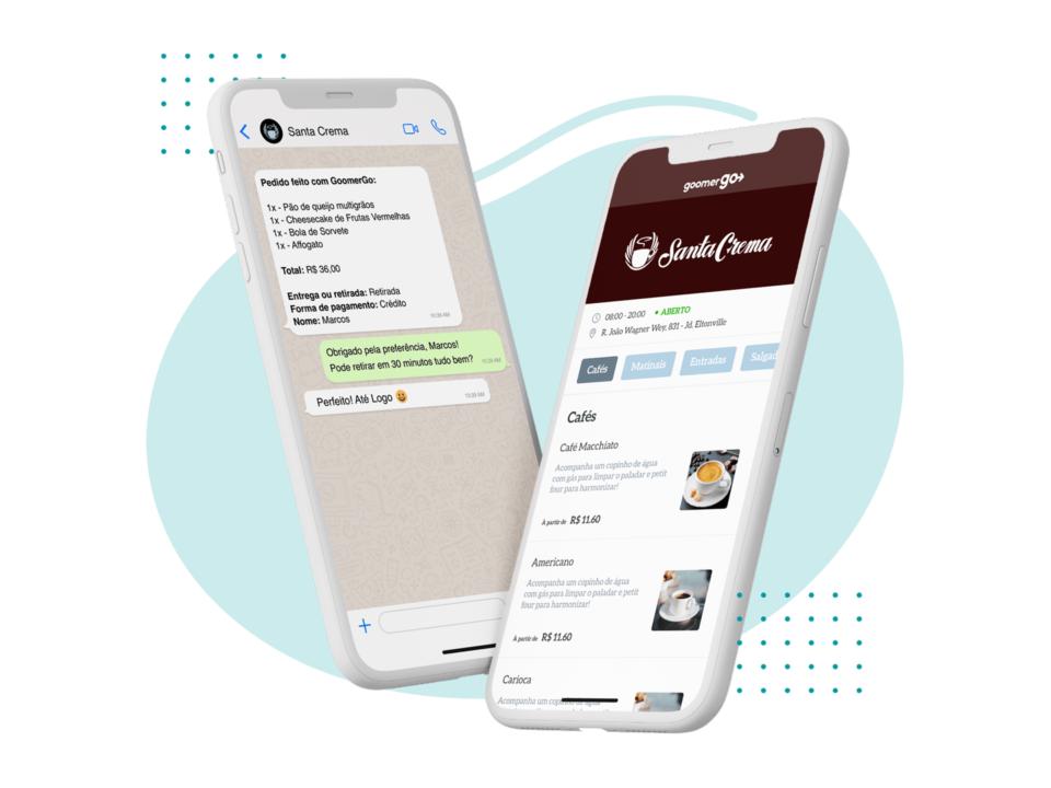 Dois celulares com telas de um cardápio criado no Goomer Go e uma conversa no WhatsApp.