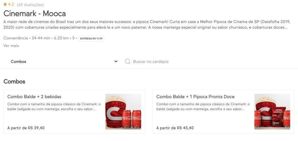 Print das pipocas do Cinemark vendidas no iFood.