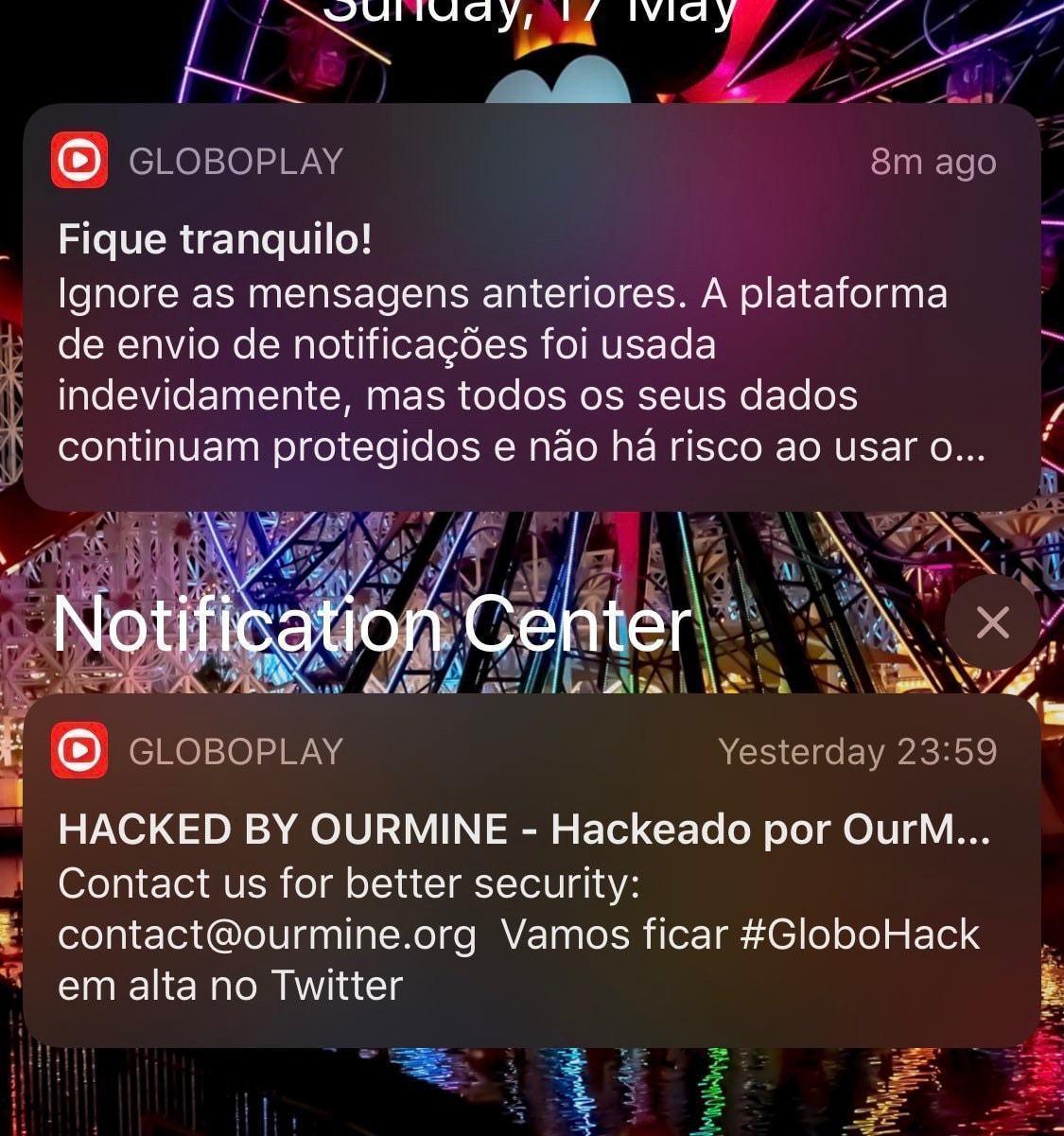 Print de notificações estranha do Globoplay em um iPhone
